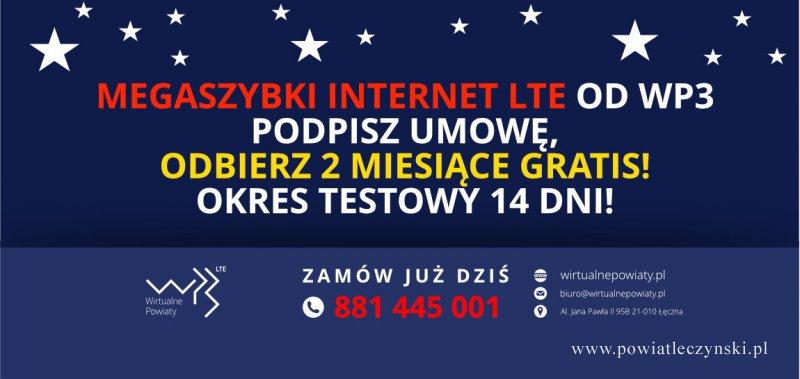 Nowa promocja Internetu w naszej Spółce WP3! 2 miesiące gratis dla każdego!