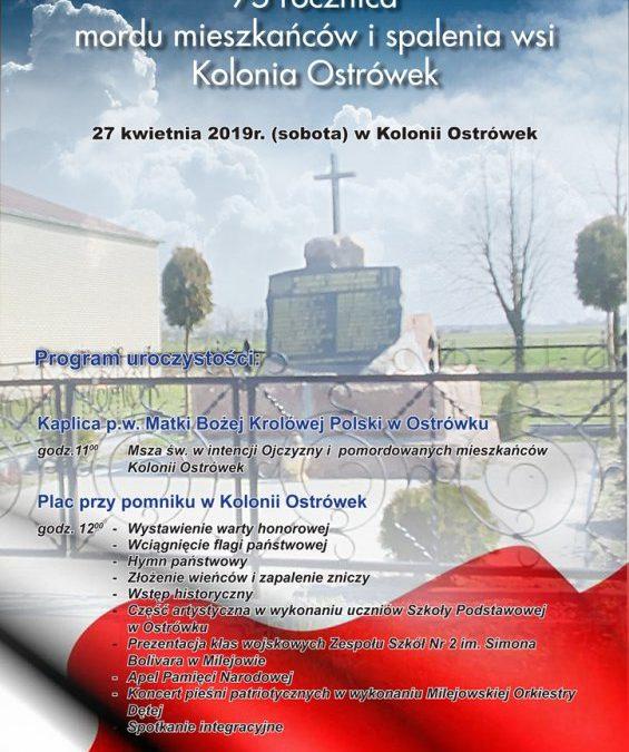 75. rocznica mordu mieszkańców i spalenia wsi Kolonia Ostrówek