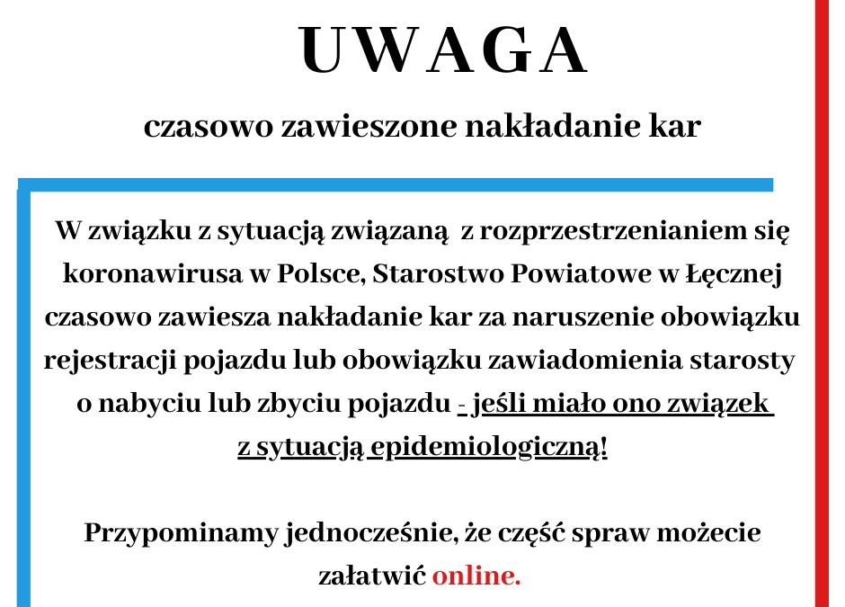 Komunikat dotyczący pracy Wydziału Komunikacji, Transportu i Dróg Publicznych