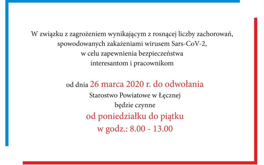 Informacja o godzinach pracy Starostwa Powiatowego w Łęcznej