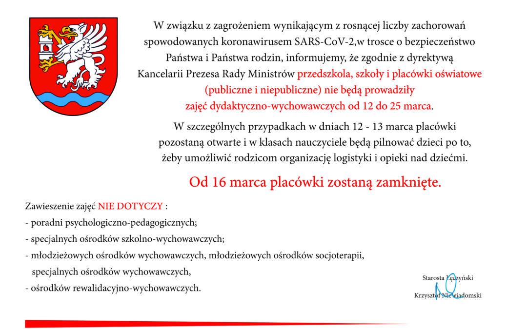 Informacja o zawieszeniu zajęć w szkołach