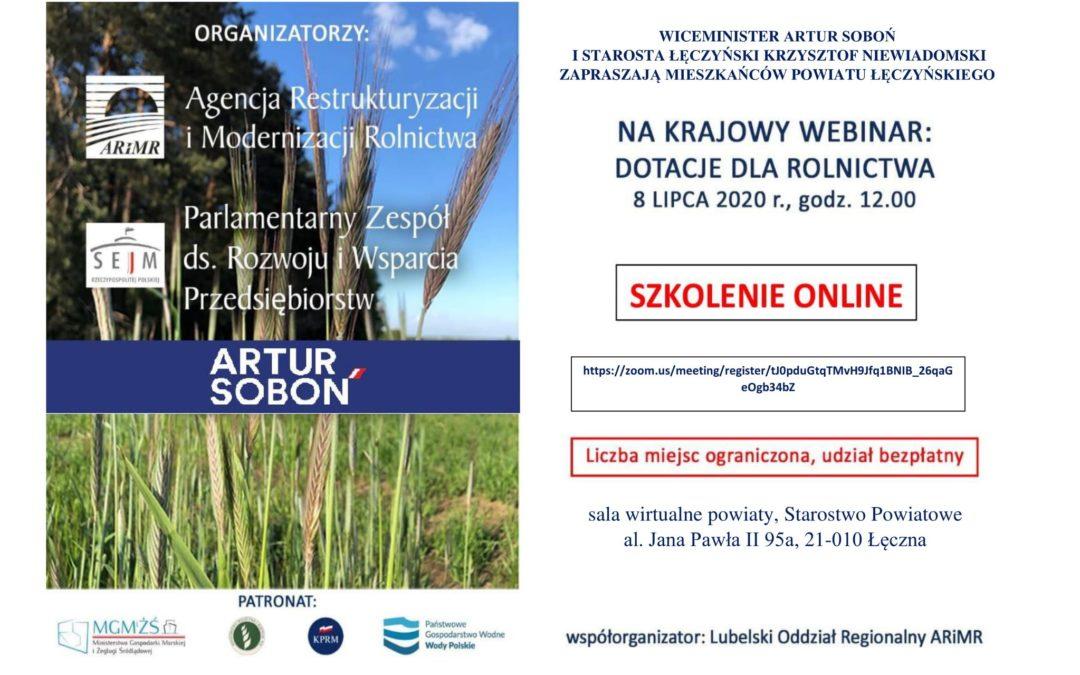 Krajowy webinar: Dotacje dla rolnictwa