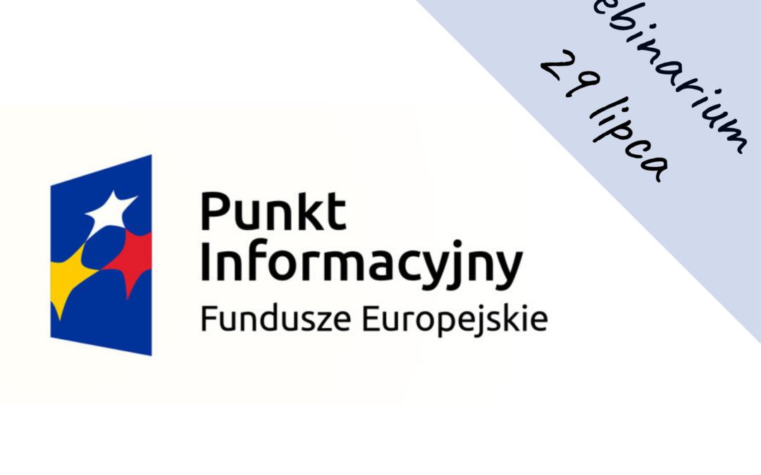 """Webinarium: """"Aktualne formy wsparcia dla przedsiębiorców z Funduszy Europejskich"""""""