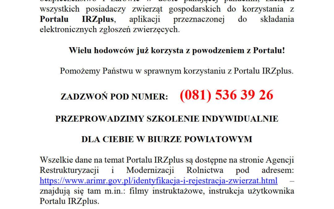 Zaproszenie do korzystania z portalu IRZplus