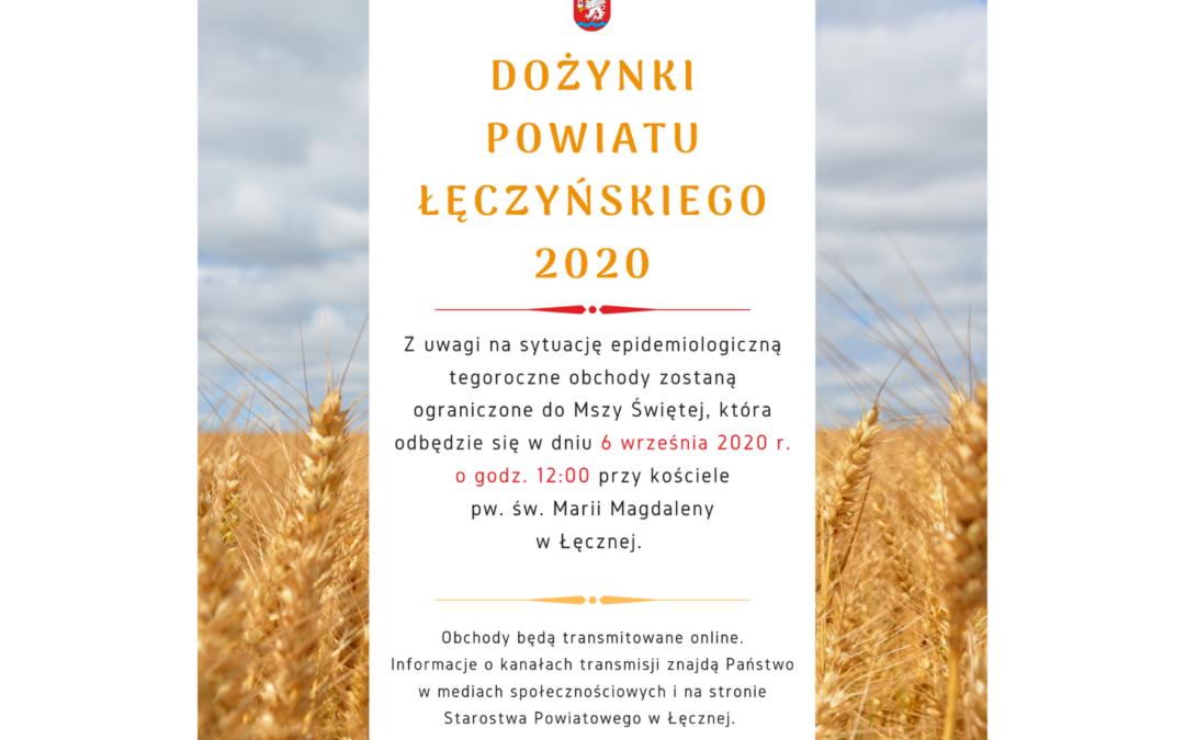 Dożynki Powiatu Łęczyńskiego 2020 – ważne informacje
