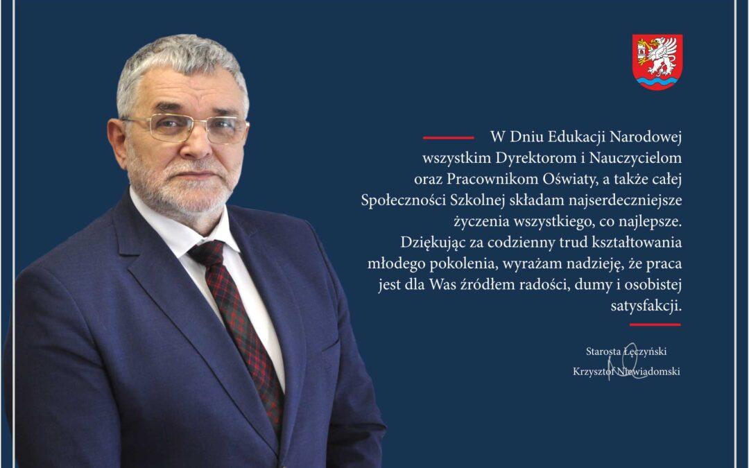 Życzenia Starosty Łęczyńskiego na Dzień Edukacji Narodowej