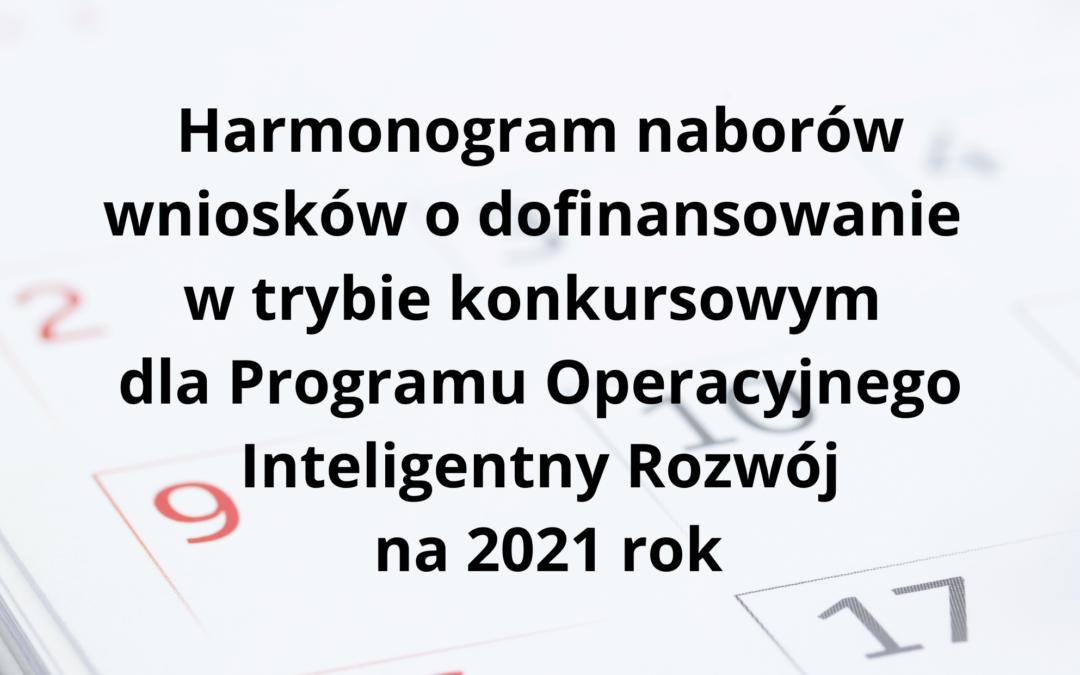 Harmonogram konkursów w 2021 r. w Programie Inteligentny Rozwój 2014-2020