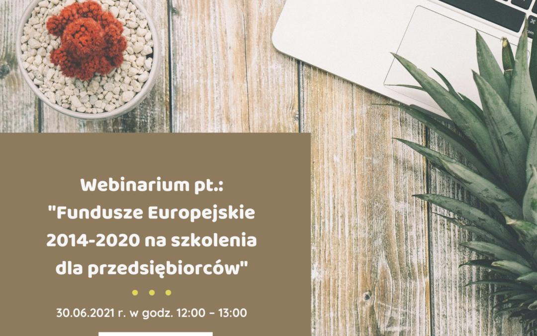 """Webinarium pt.: """"Fundusze Europejskie 2014 – 2020 na szkolenia dla przedsiębiorców"""""""